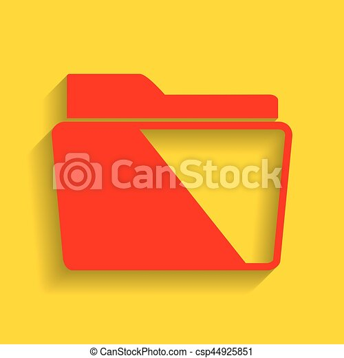 Folder sign illustration. Vector. Red icon with soft shadow on golden background. - csp44925851