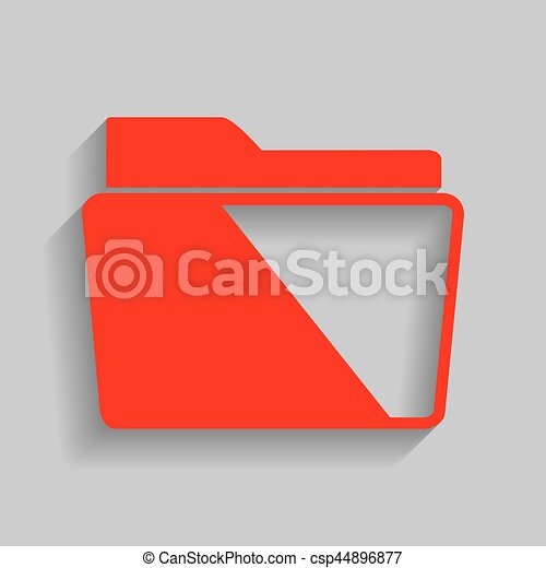 Folder sign illustration. Vector. Red icon with soft shadow on gray background. - csp44896877