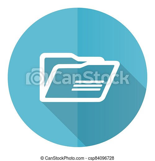 Folder vector icon, flat design blue round web button isolated on white background - csp84096728