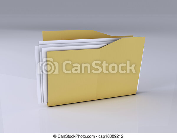 Folder with Files,3D Illustration - csp18089212