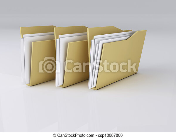 Folder with Files,3D Illustration - csp18087800