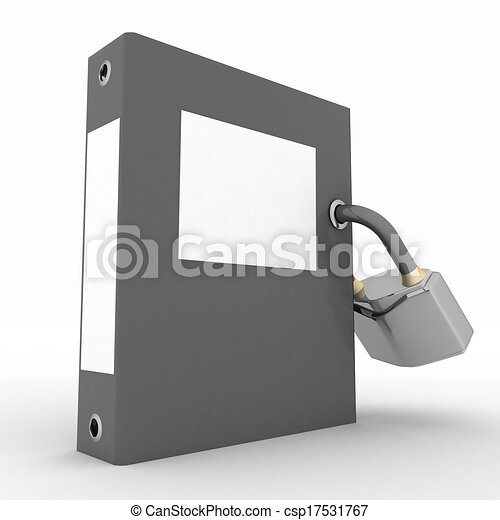 Folder with padlock on a white background - csp17531767