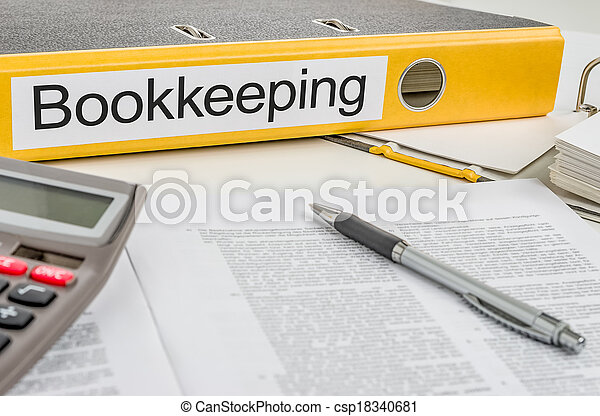 Folder with the label Bookkeeping - csp18340681