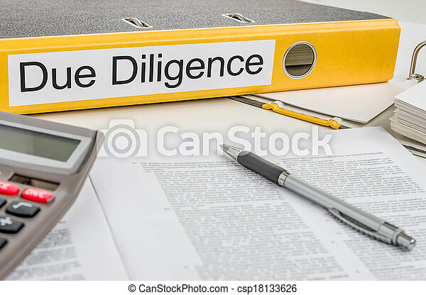 Folder with the label Due Diligence - csp18133626