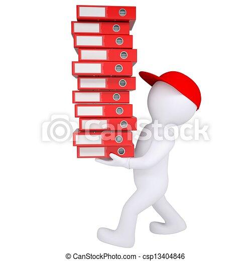 folders, kantoor, dragen, witte , man, stapel, 3d - csp13404846