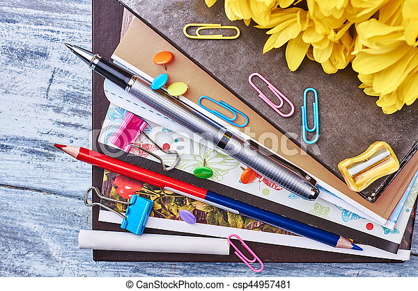Folders with documents and stationery. - csp44957481