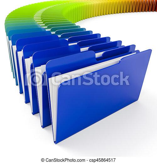folders, witte achtergrond, kleurrijke, 3d - csp45864517