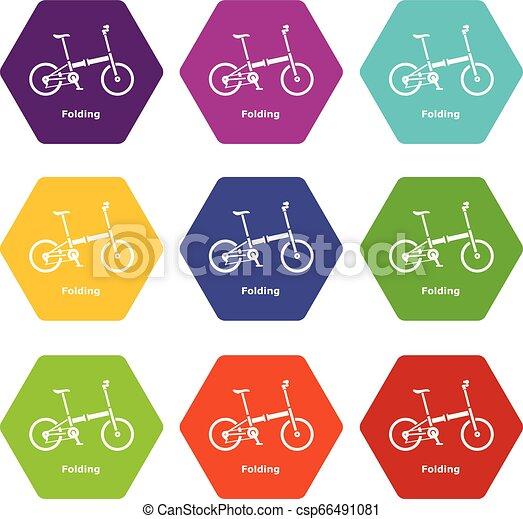 Folding bike icons set 9 vector - csp66491081