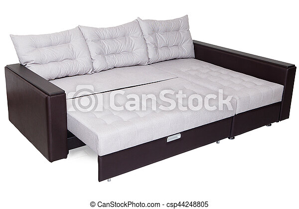 Folding Sofa Bed Of White Full Size Armrests Upholstered Brown