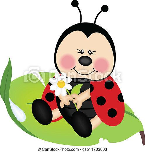 folha, verde, ladybug, sentando - csp11703003