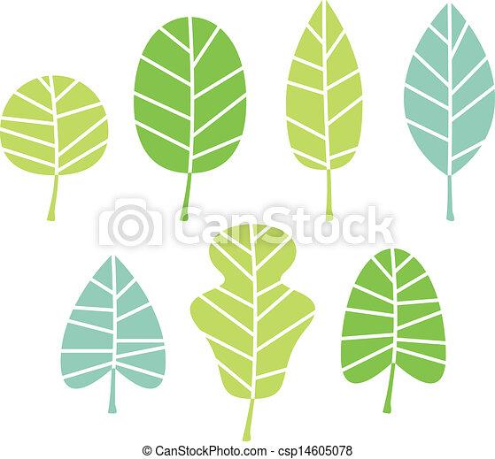 folhas, árvore, isolado, cobrança, verde branco - csp14605078