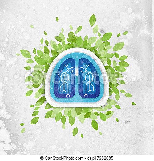 folhas, conceito, saúde, pulmões, ilustração - csp47382685
