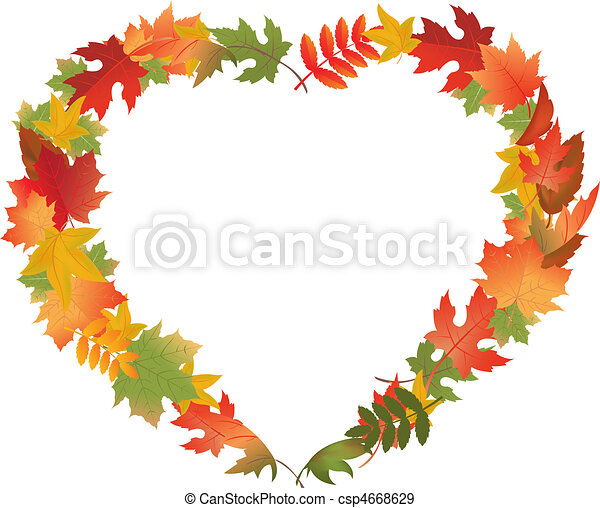 folhas, forma, coração, outono - csp4668629