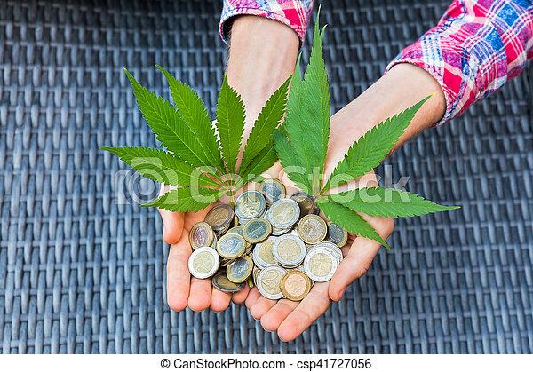 folhas, moedas, segurar passa, cânhamo, euro - csp41727056