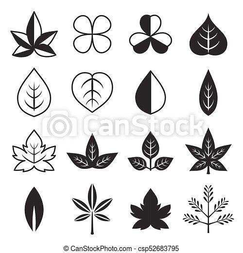 folhas, vetorial, silueta, ícone, jogo, desenho - csp52683795