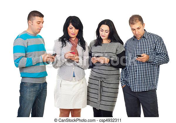 folk, cellphones, grupp, användande - csp4932311