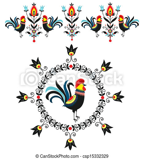 Folk Decorations Of Roosters - csp15332329