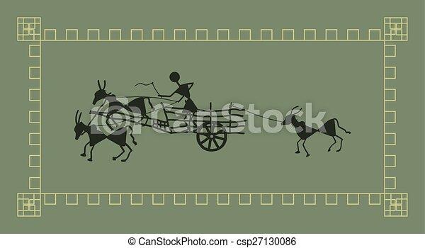 Folk Design Bullock Cart - csp27130086