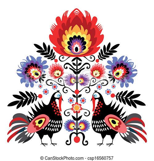 Folk Embroidery With Turkeys - csp16560757
