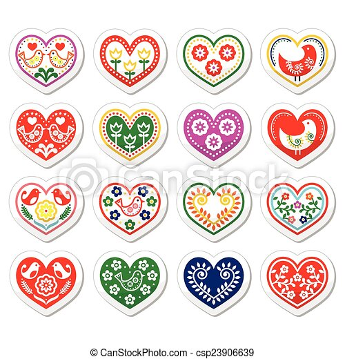 Folk hearts with flowers and birds  - csp23906639