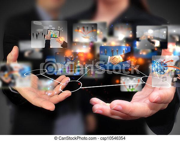 folk, holdingen, media, social, affär - csp10546354
