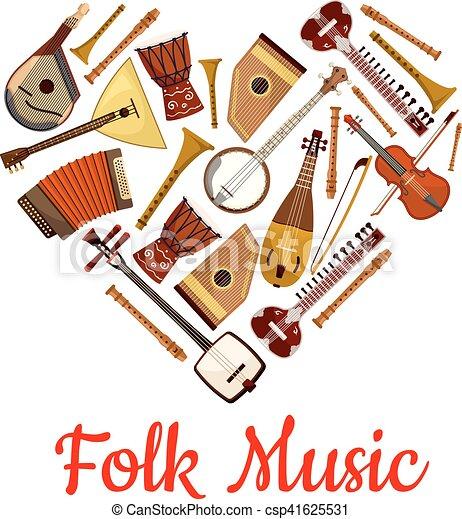 Folk music heart emblem of musical instruments - csp41625531