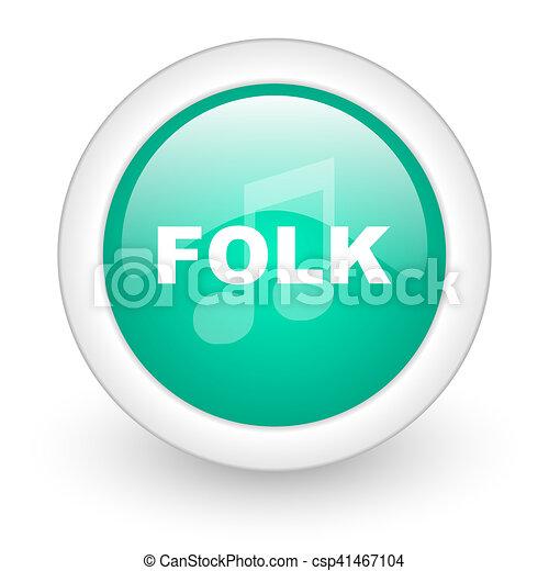 folk music round glossy web icon on white background - csp41467104