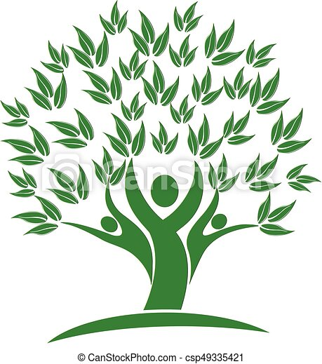 folk, natur, træ, grønne, logo, ikon - csp49335421