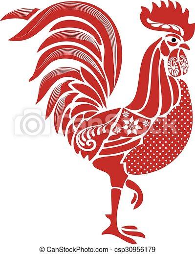 Folk Rooster - csp30956179