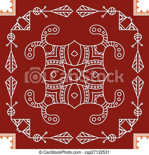 Folk, Tribal Design, Motif, Wall Painting - csp27122531