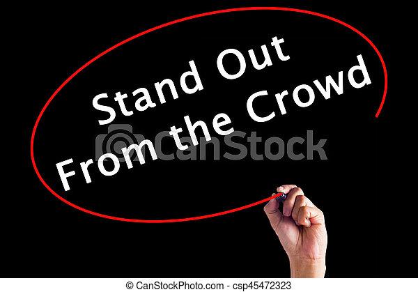 folla, sopra, scrittura, pennarello, stare in piedi, board., mano, trasparente, fuori - csp45472323