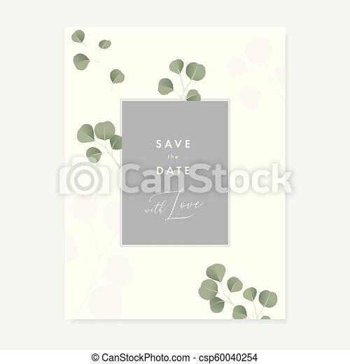 Invitación De Boda Floral Tarjeta De Felicitación Con Verde
