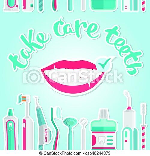 Hojas de higiene de dientes médicos - csp48244373