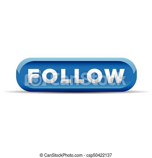 Follow blue button vector - csp50422137