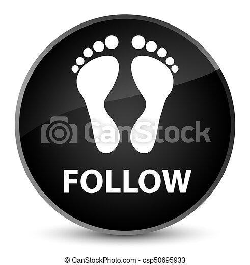 Follow (footprint icon) elegant black round button - csp50695933