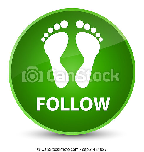 Follow (footprint icon) elegant green round button - csp51434027