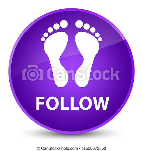 Follow (footprint icon) elegant purple round button - csp50672550