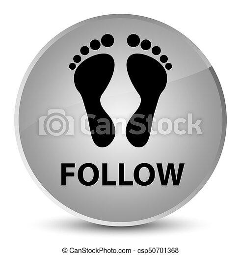 Follow (footprint icon) elegant white round button - csp50701368