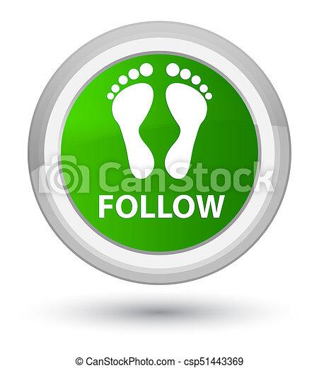 Follow (footprint icon) prime green round button - csp51443369