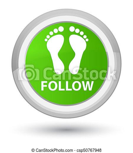 Follow (footprint icon) prime soft green round button - csp50767948
