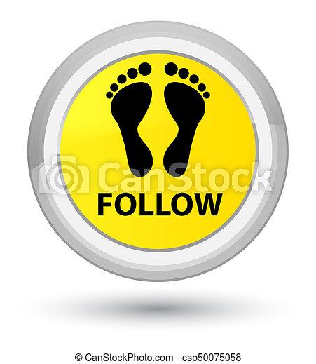 Follow (footprint icon) prime yellow round button - csp50075058