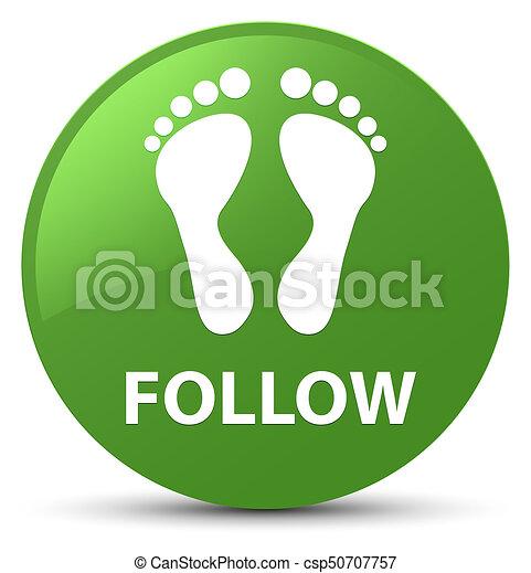 Follow (footprint icon) soft green round button - csp50707757