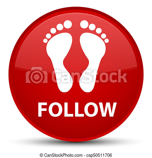 Follow (footprint icon) special red round button - csp50511706
