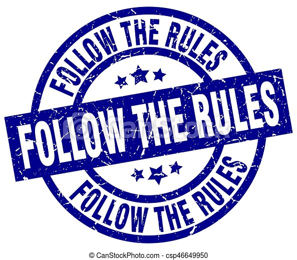 follow the rules blue round grunge stamp - csp46649950
