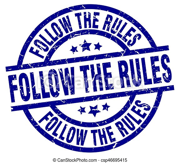 follow the rules blue round grunge stamp - csp46695415
