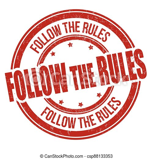 Follow the rules grunge rubber stamp - csp88133353