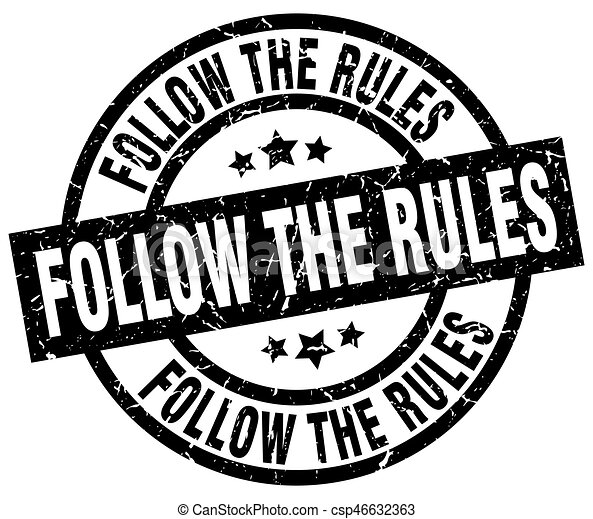 follow the rules round grunge black stamp - csp46632363