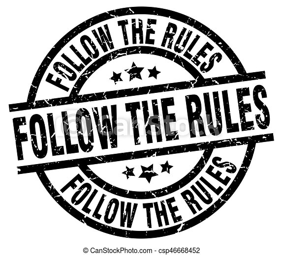 follow the rules round grunge black stamp - csp46668452