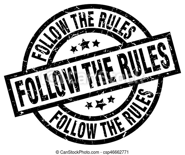 follow the rules round grunge black stamp - csp46662771