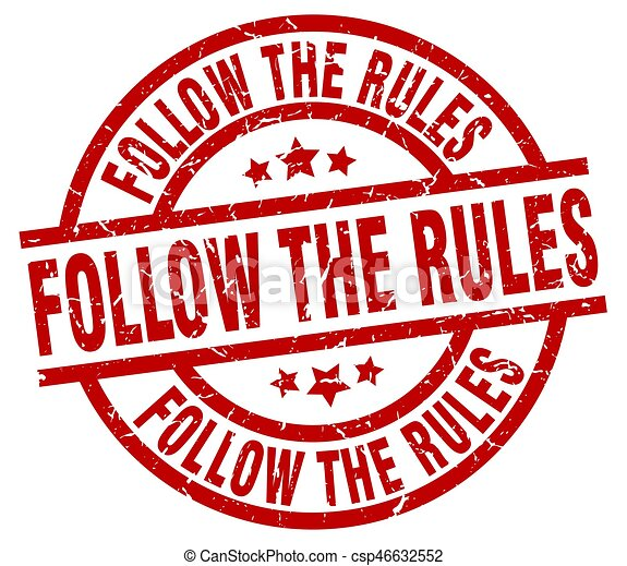 follow the rules round red grunge stamp - csp46632552